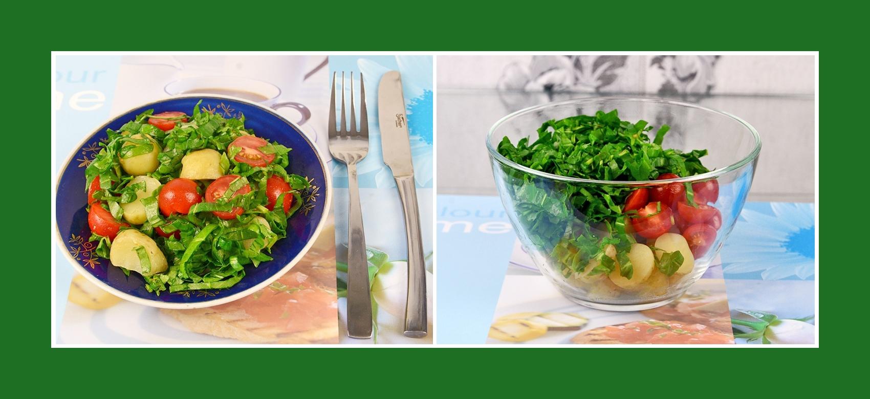 Kartoffelsalat mit Sauerampfer und Cherrytomaten