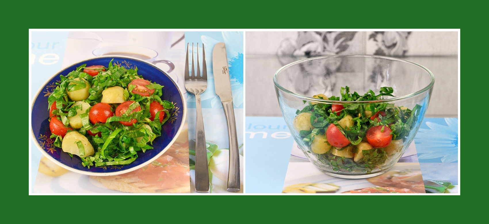 Frühlingssalat aus gekochten Frühkartoffeln, Tomaten und Sauerampfer
