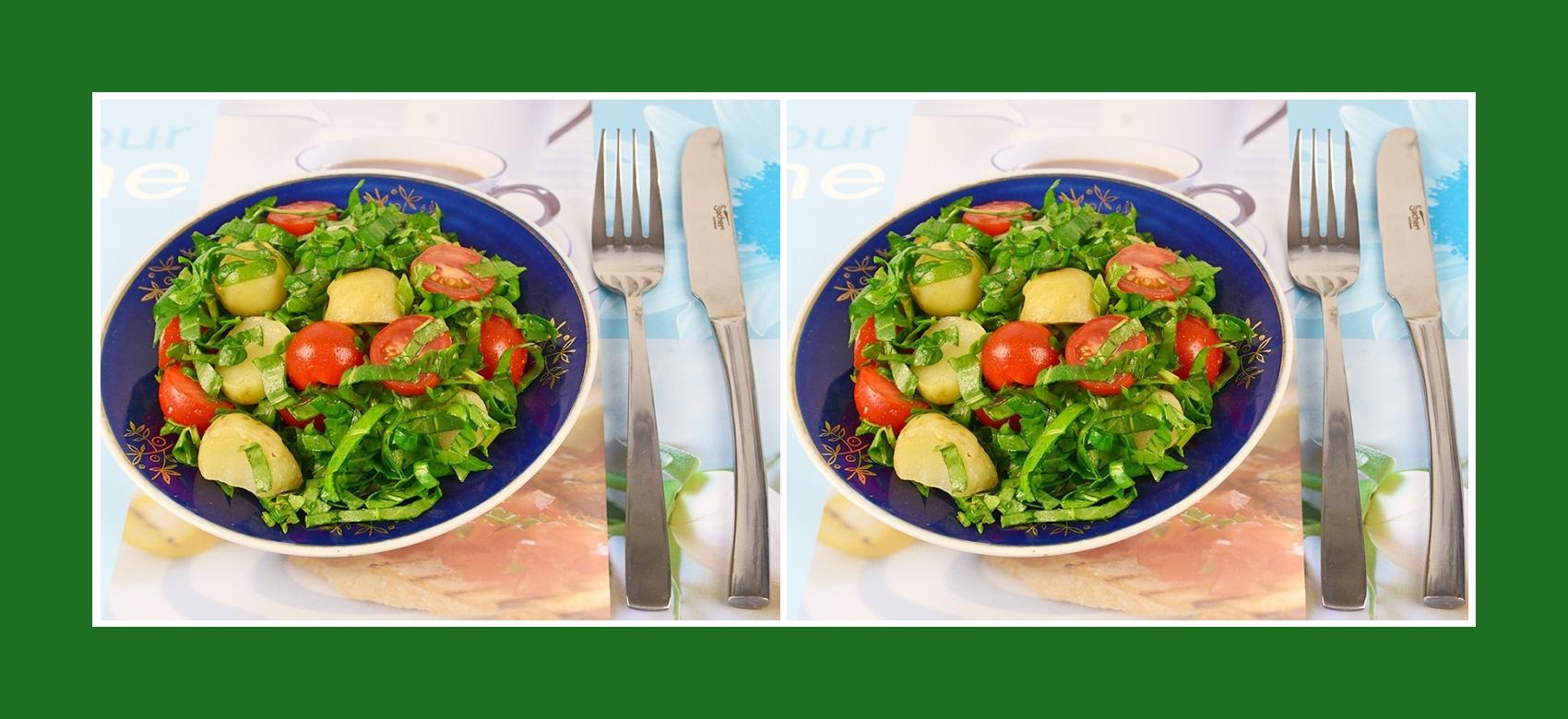 Gesunder Kartoffelsalat mit mini Tomaten und Wiesen-Sauerampfer