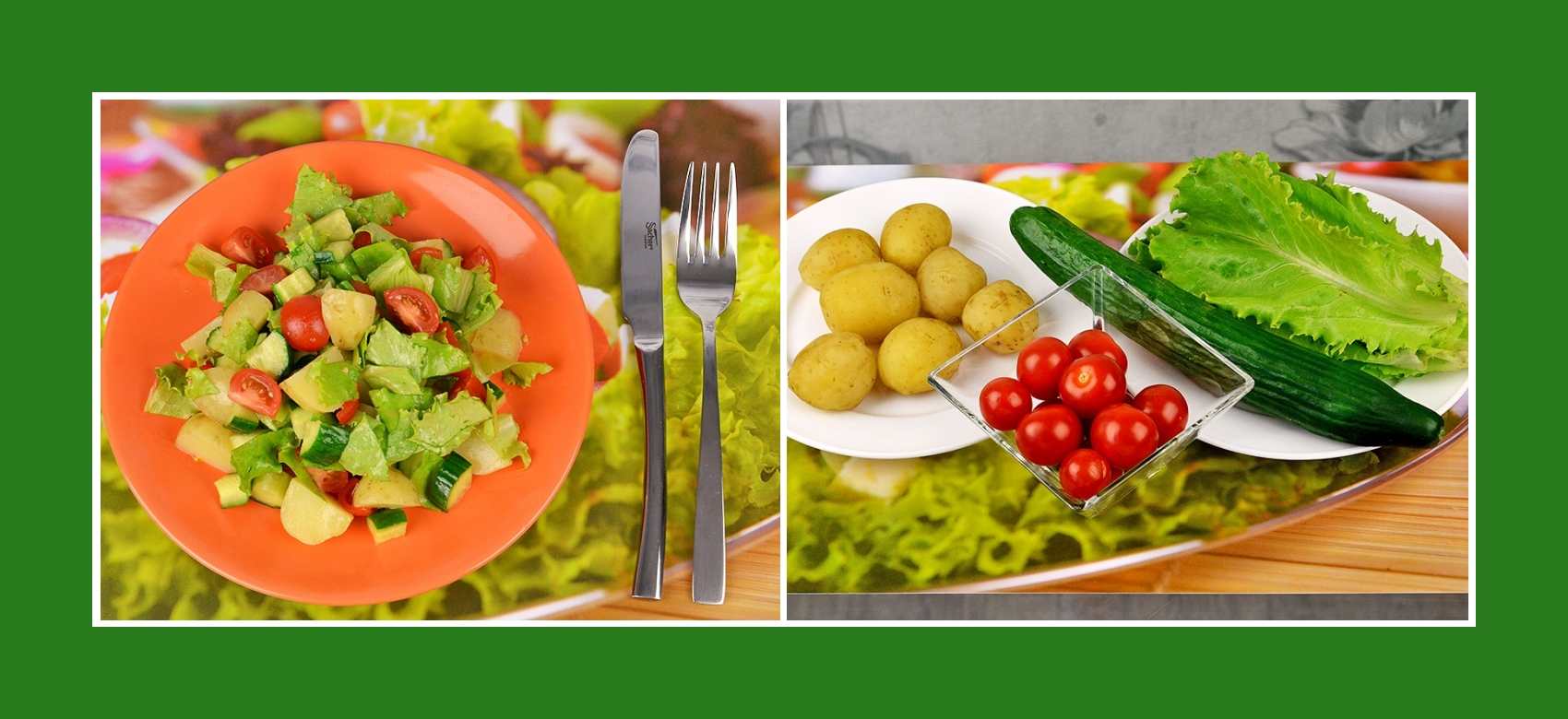 Knuspriger Salat mit Frühkartoffeln, Gurken, Cherrytomaten und Salatblättern