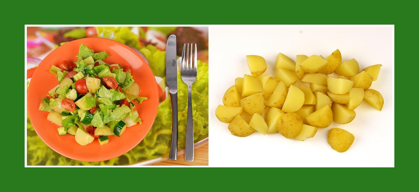 Gekochte Frühkartoffeln für Gemüsesalat