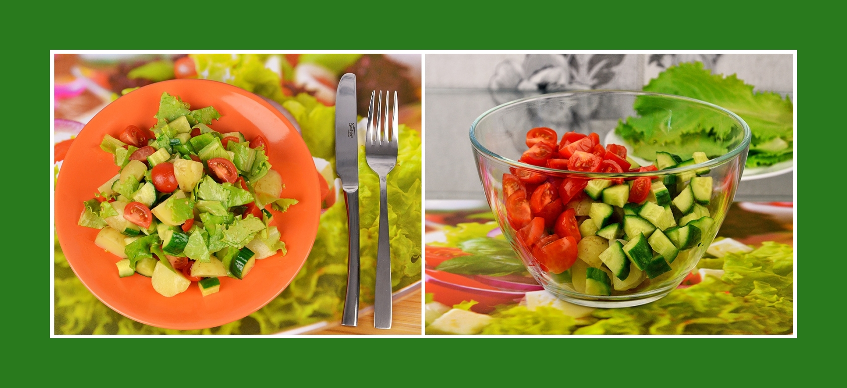 Salat aus Frühkartoffeln, Tomaten und Gurken