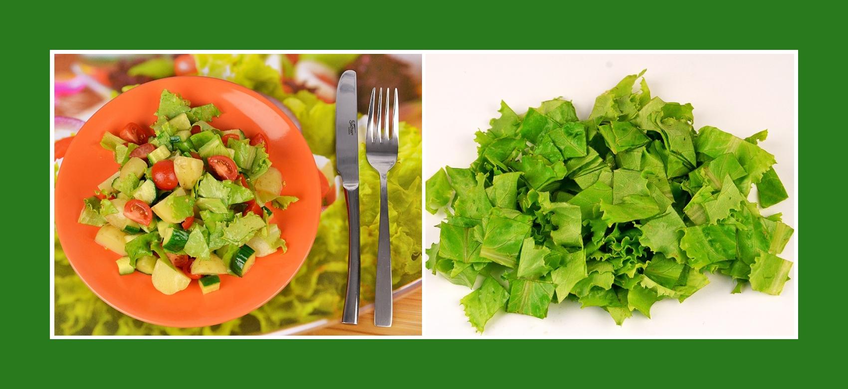 Knusproge Salatblätter für Frühkartoffeln