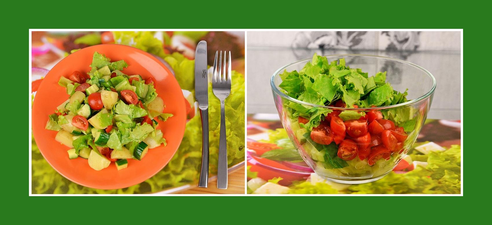 Frühkartoffelsalat mit Cherrytomaten, Gurken und Salat