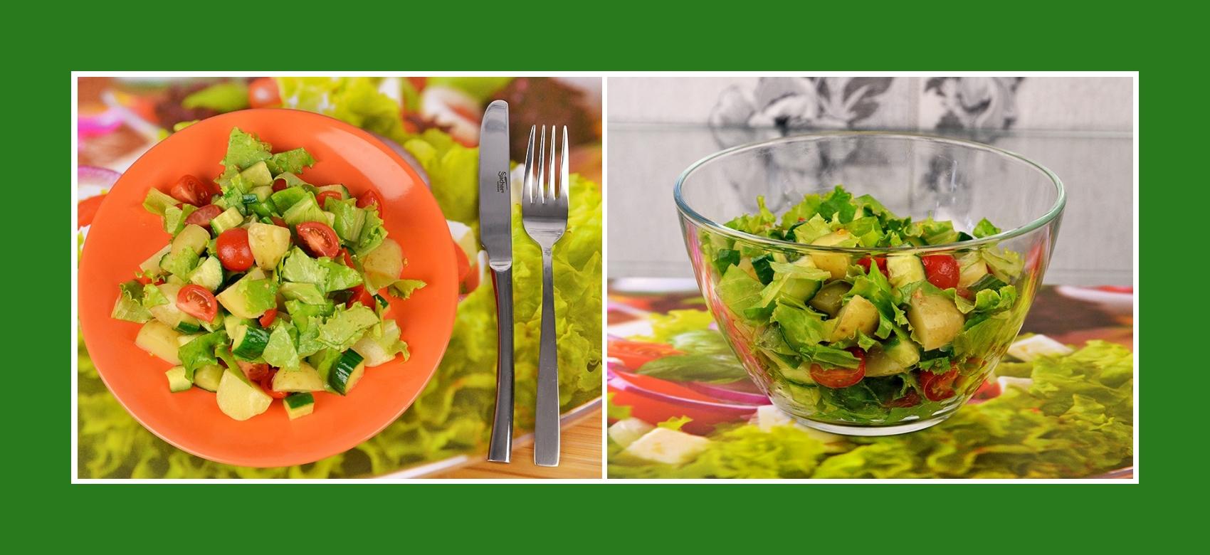 Knusüriger Salat mit Frühkartoffeln, Salat, Cherrytomaten und Gurken