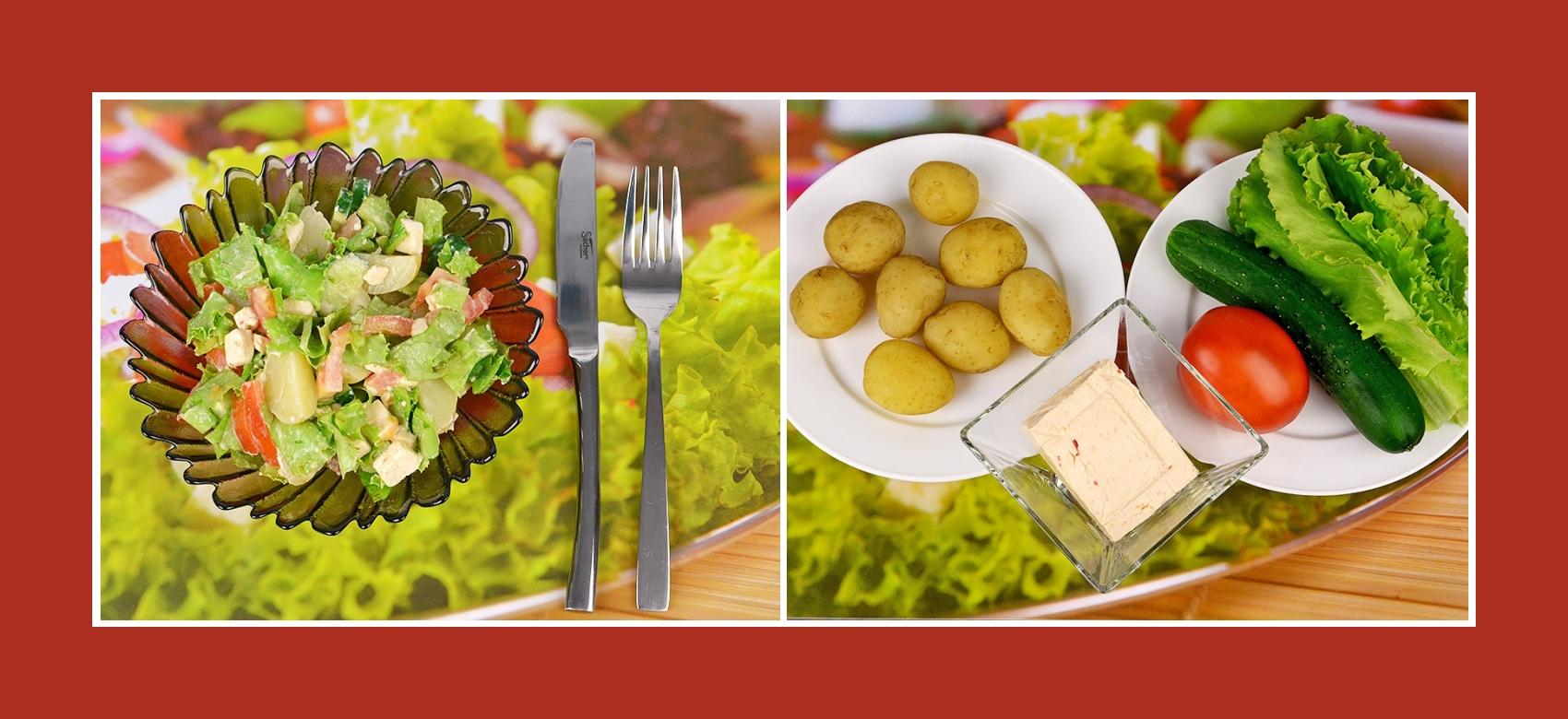 Saftiger Gemüsesalat mit Kartoffeln, Tomaten, Gurken, Gartensalat und pikantem Schmelzkäse