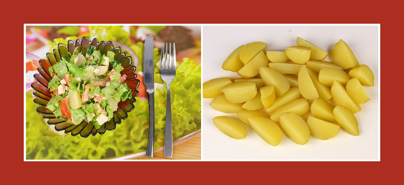 Gekochte Kartoffeln für Salat mit Schmelzkäse