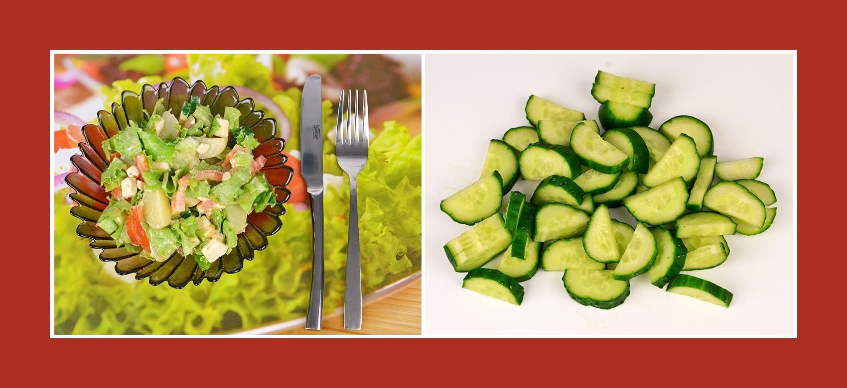 Gurken für Kartoffelsalat mit Schmelzkäse
