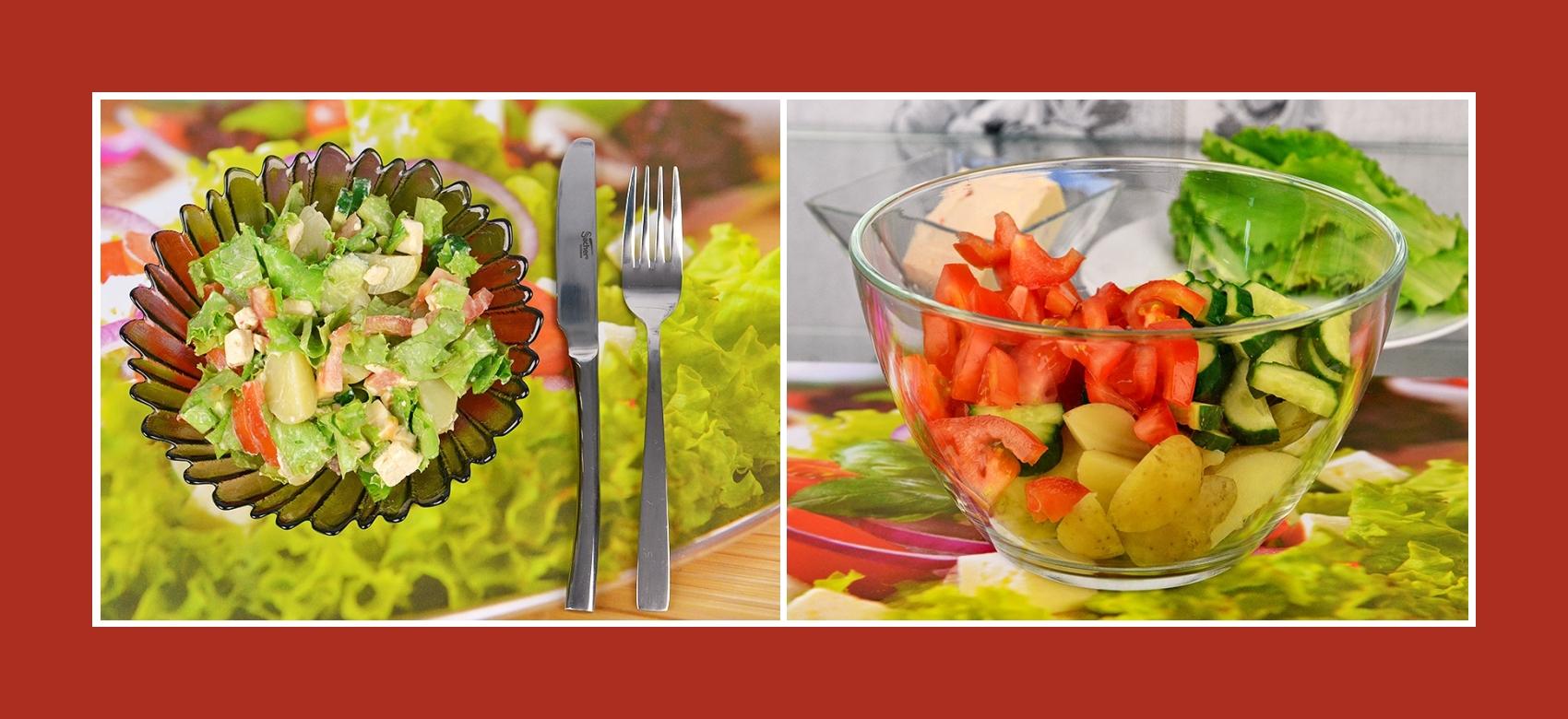 Salat aus Tomaten, Frühkartoffeln und Gurken