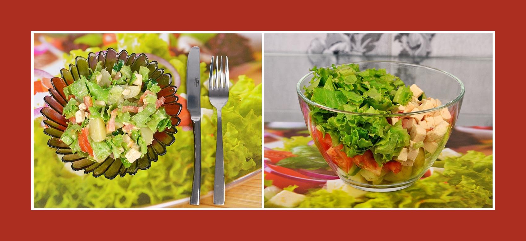 Pikanter Kartoffesalat mit Salat Blättern