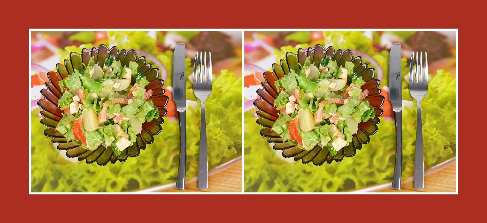 Gesunder Kartoffesalat mit Gemüse und Schmelzkäse