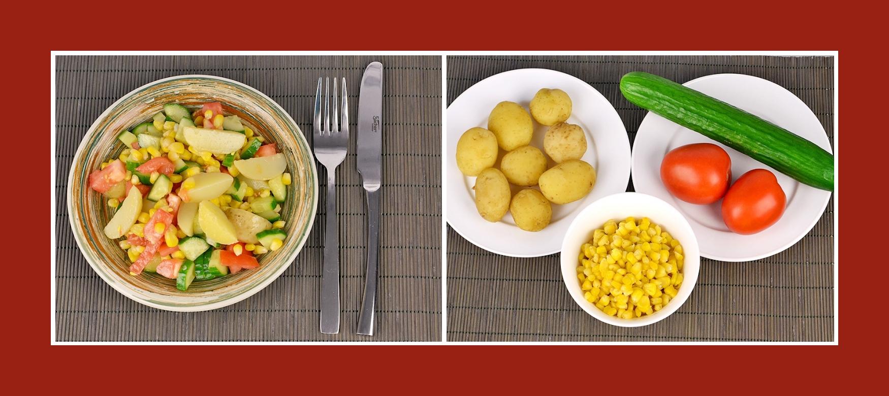 Sommerlicher Kartoffelsalat mit Frühkartoffeln, Tomaten, Gurken und Mais