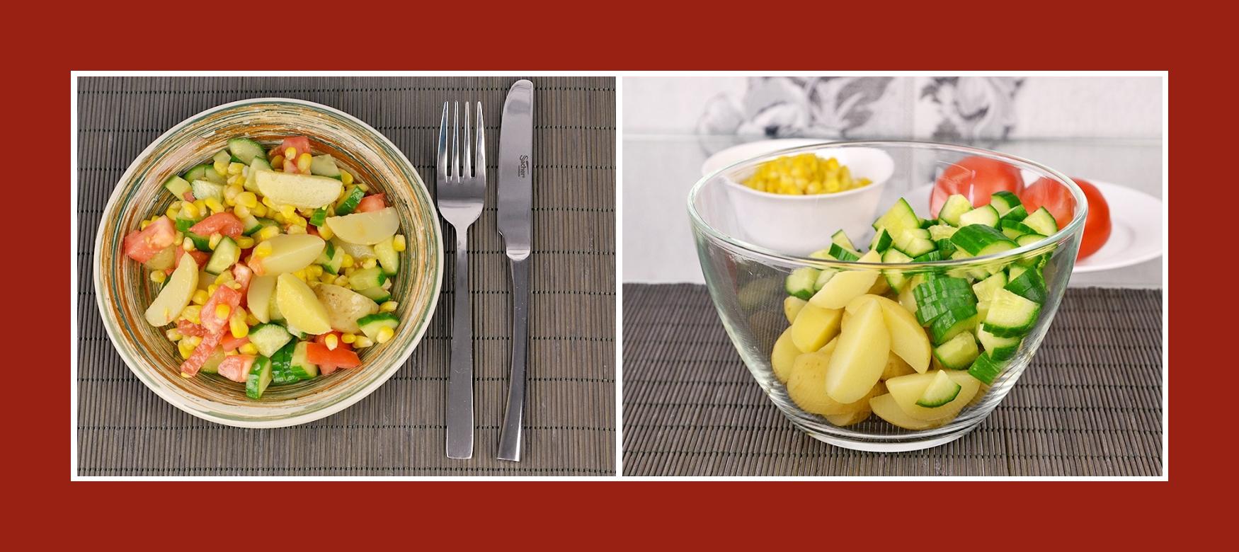 Sommersalat mit Kartoffeln und Gurken