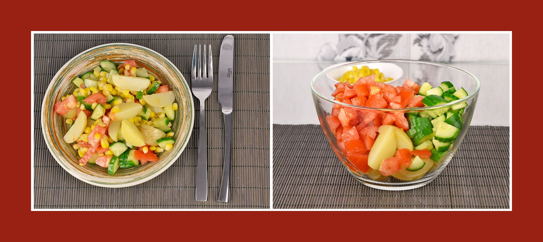 Sommersalat mit Gurken, Tomaten und Frühkartoffeln