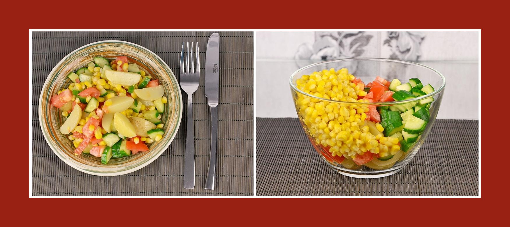 Sommerlicher Salat mit frischem Gemüse und Mais