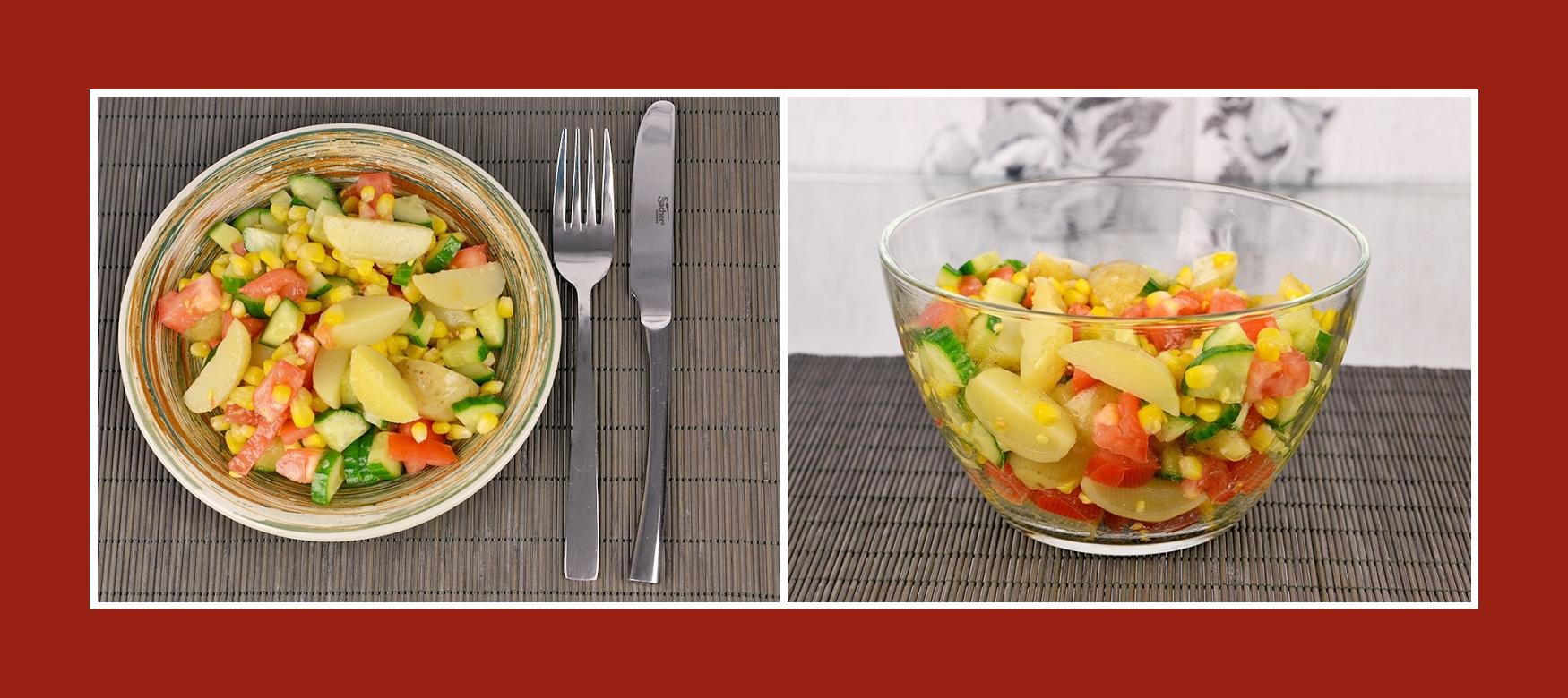 Bunter Sommersalat mit Frühkartoffeln, Gurken, Mais und Tomaten