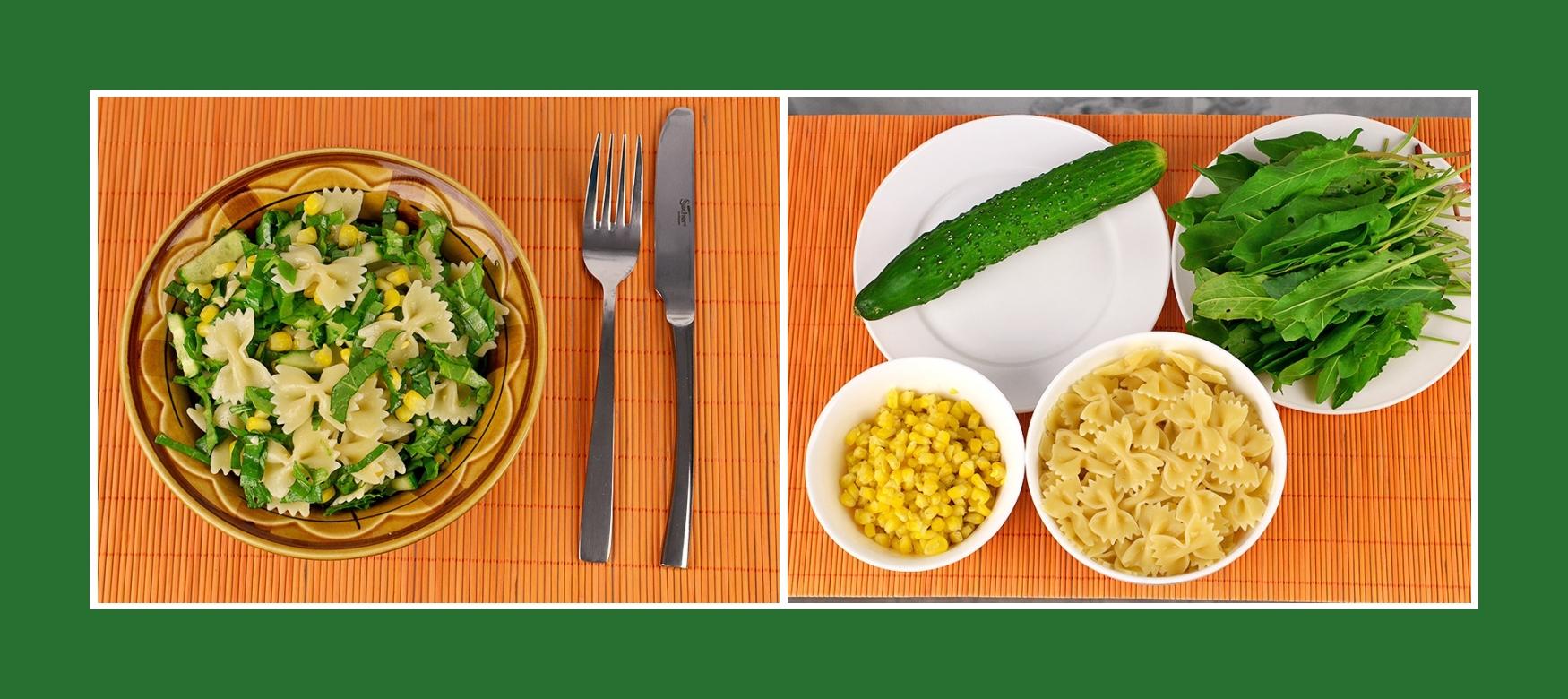 Gesunder Nudelsalat mit Gurken, süßem Mais und Sauerampfer