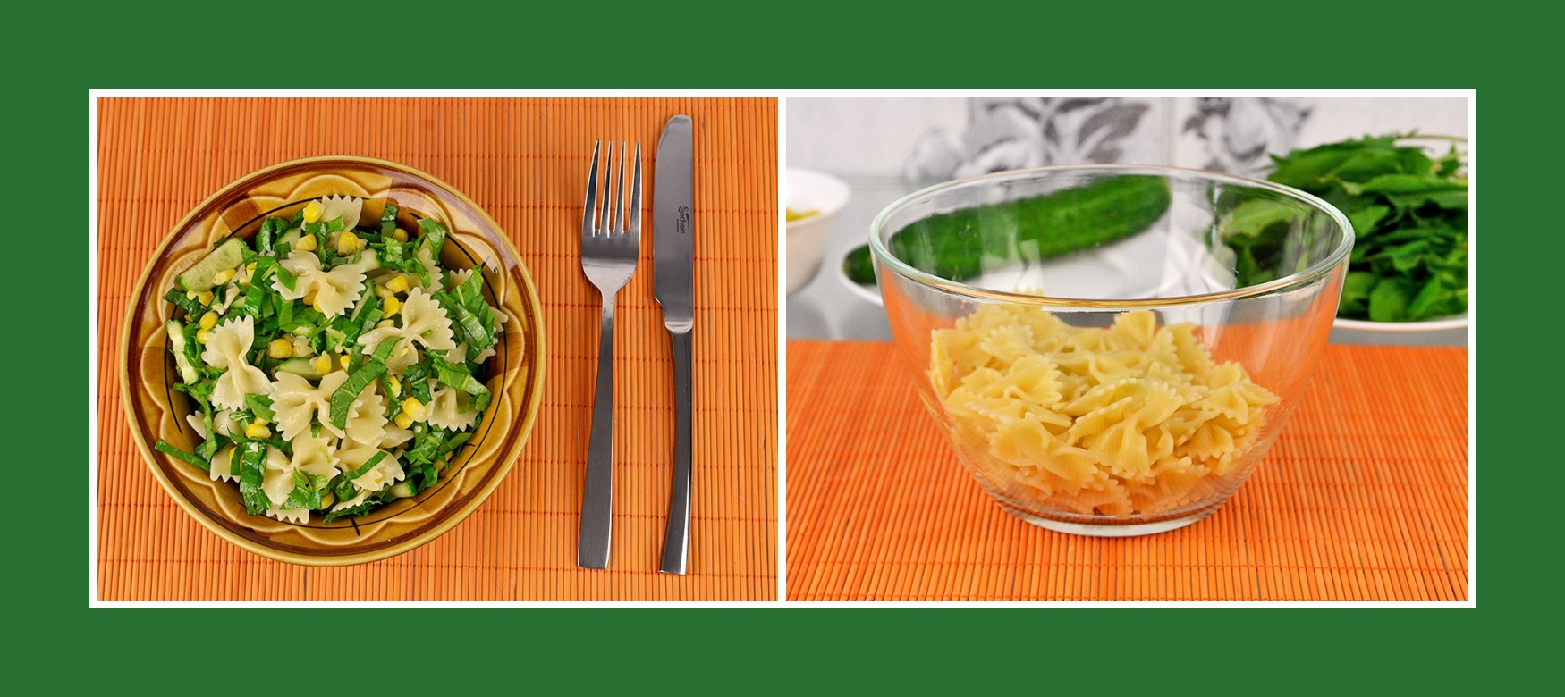 Gesunder Salat mit Farfalle Nudeln
