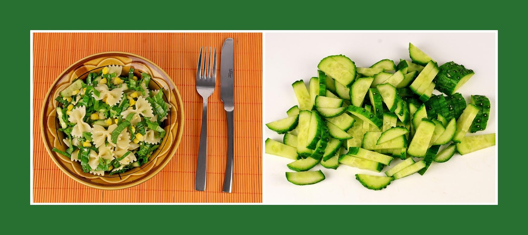 Gurken für gesunden und diätischen Nudelsalat