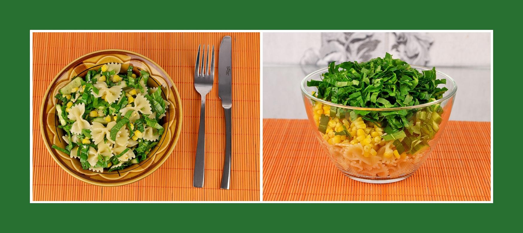 Nudelsalat mit Gurken, Sauerampfer und Mais
