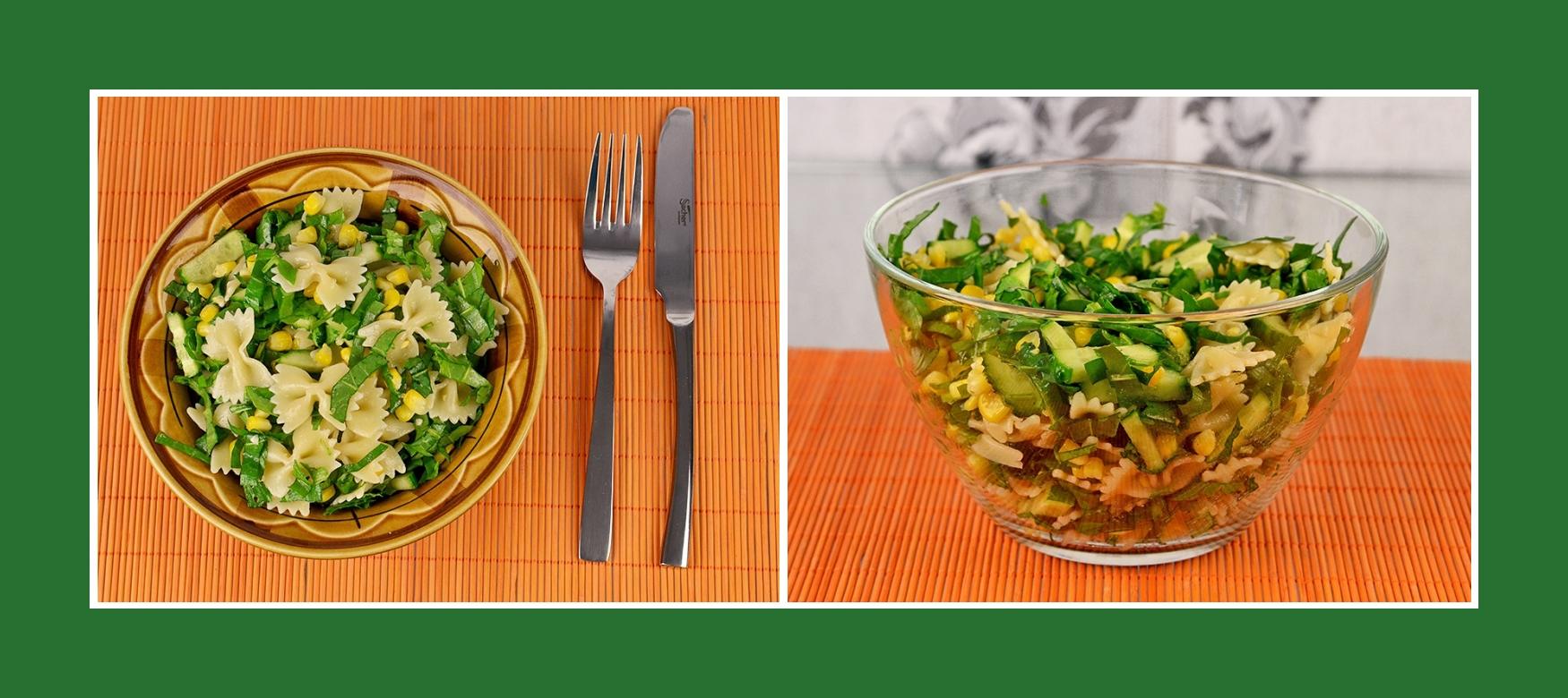 Erfrischender Nudelsalat mit grünem Gemüse und Kräutern