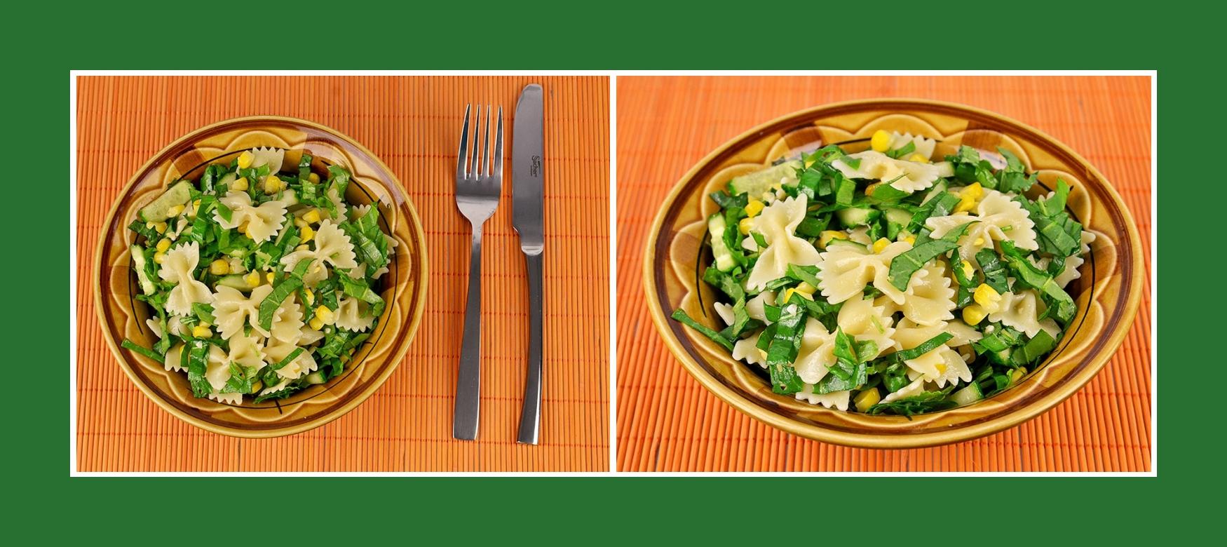 Sommerlicher Nudelsalat mit Gurken, erfrischendem Sauerampfer und Mais