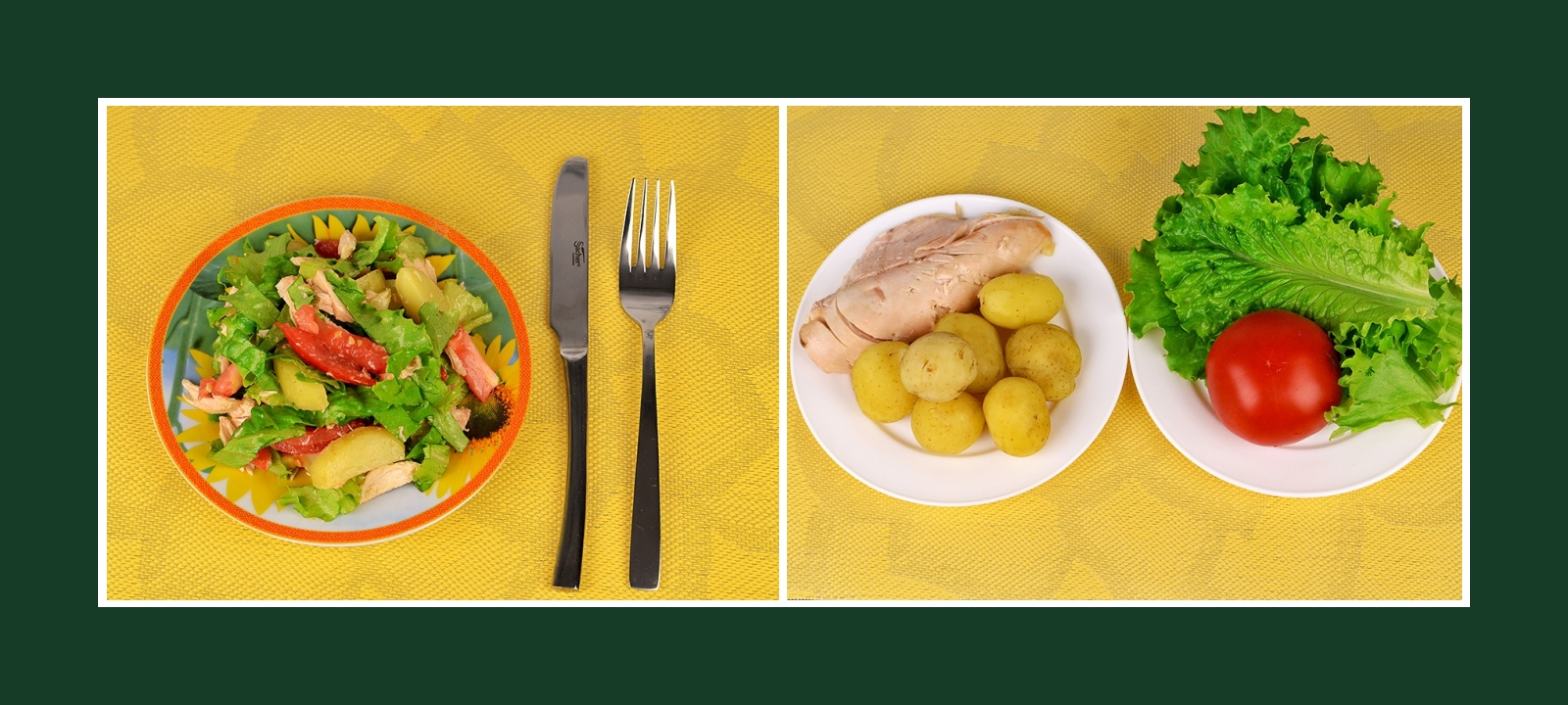 Fantastischer Kartoffelsalat aus Frühkartoffeln mit Tomaten, Salat und Fleisch