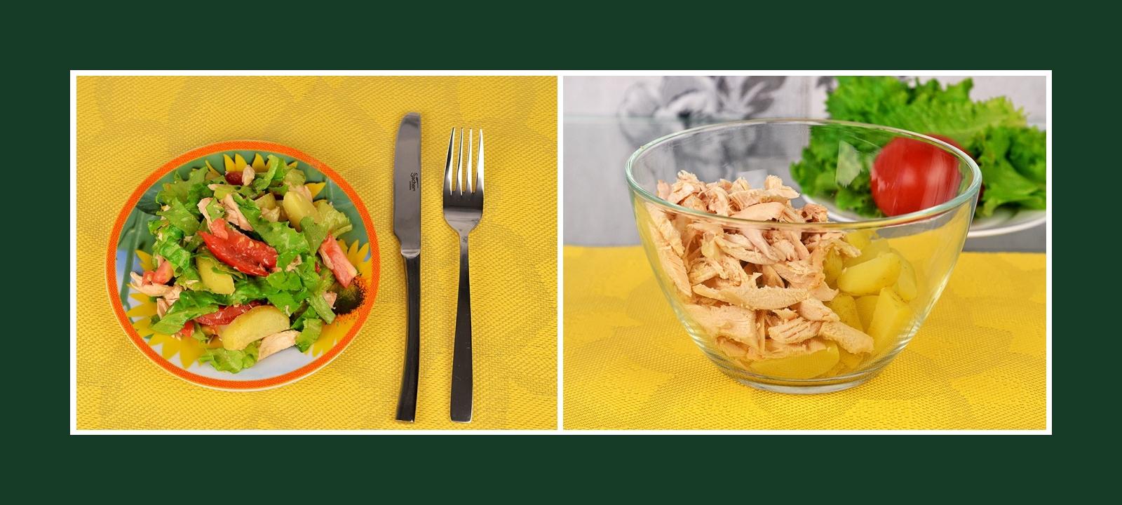 Salat mit Hähnchenfilet und Frühkartoffeln