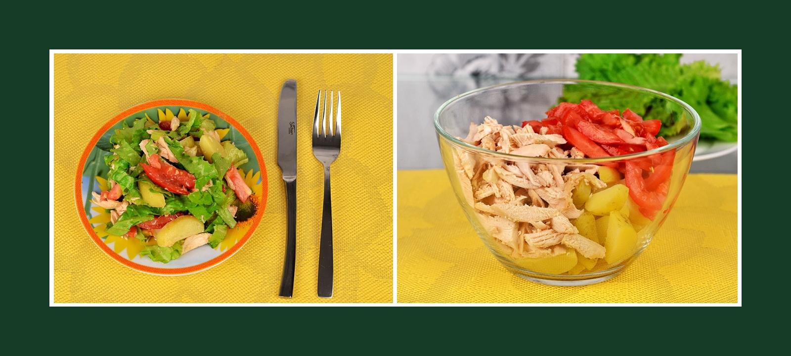 Salat aus Tomaten, Frühkartoffeln und Fleisch
