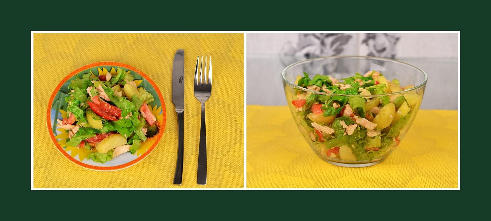 Leckerer Salat aus Frühkartoffeln, Hähnchenfleisch, Tomaten, Salat