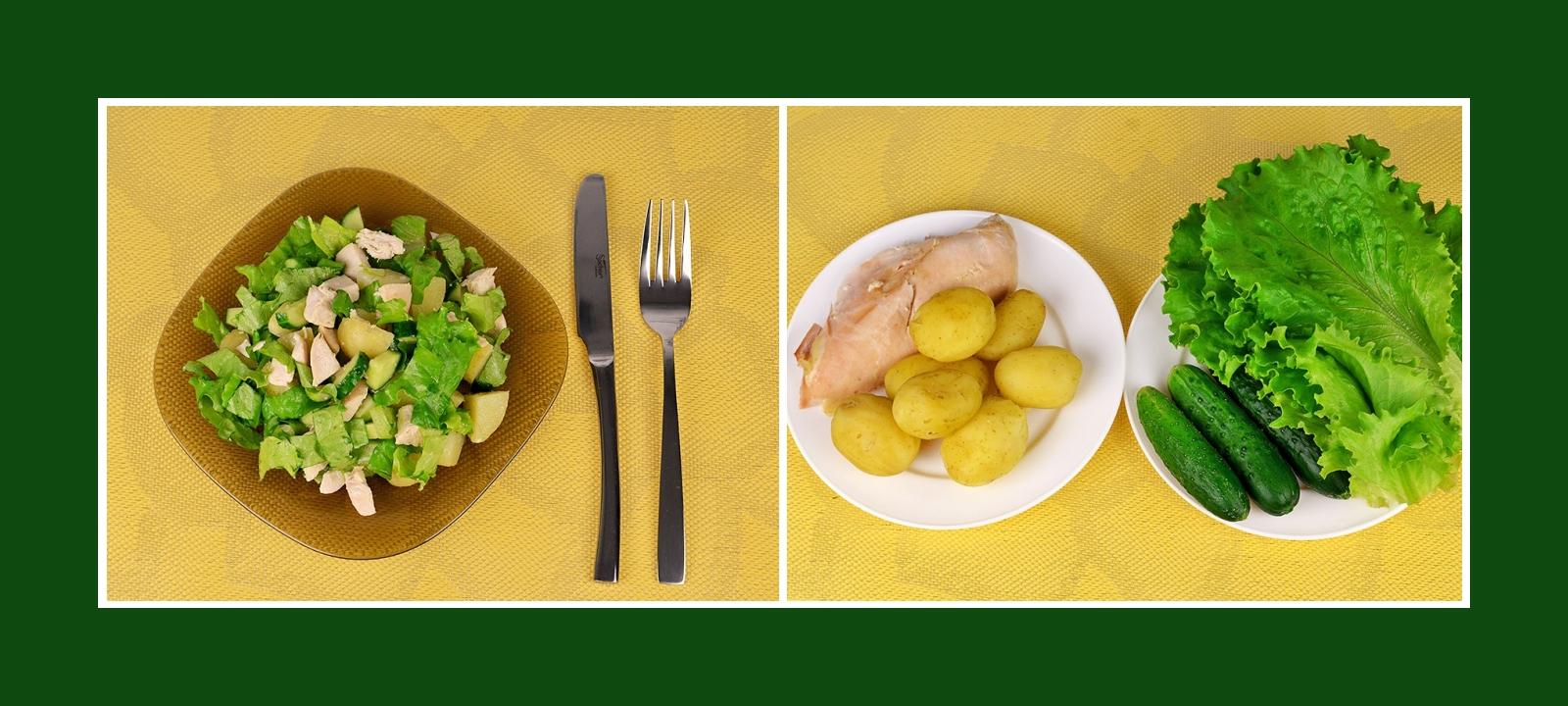 Zarter Kartoffelsalat mit Hähnchenbrustfilet, Gurken und knusprigen Salatblättern