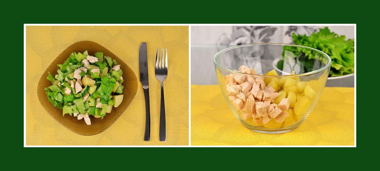 Kartoffeln und Geflügelfleisch für sommerlichen Salat
