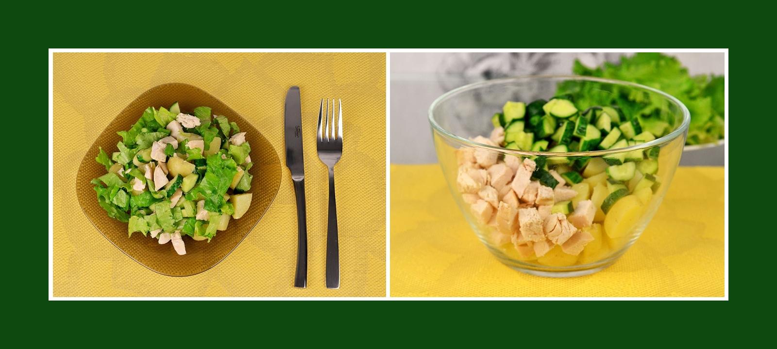 Sommersalat mit frischen Kurken, Kochkartoffeln und Hähnchenfleisch