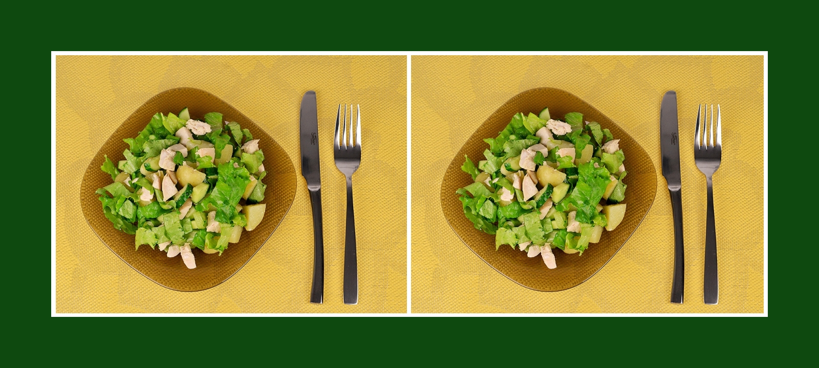 Gesunder und leichter grüner Salat mit nahrhaftem Fleisch