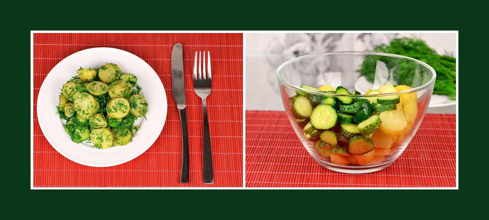 Originelle und erfrischende Beilage aus Kartoffeln und Gurken