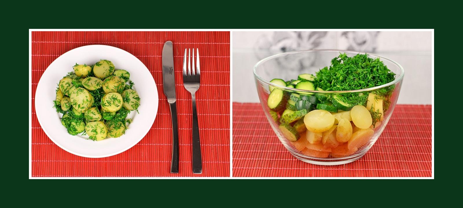 Beilage aus Kochkartoffeln, Gurken und Dill