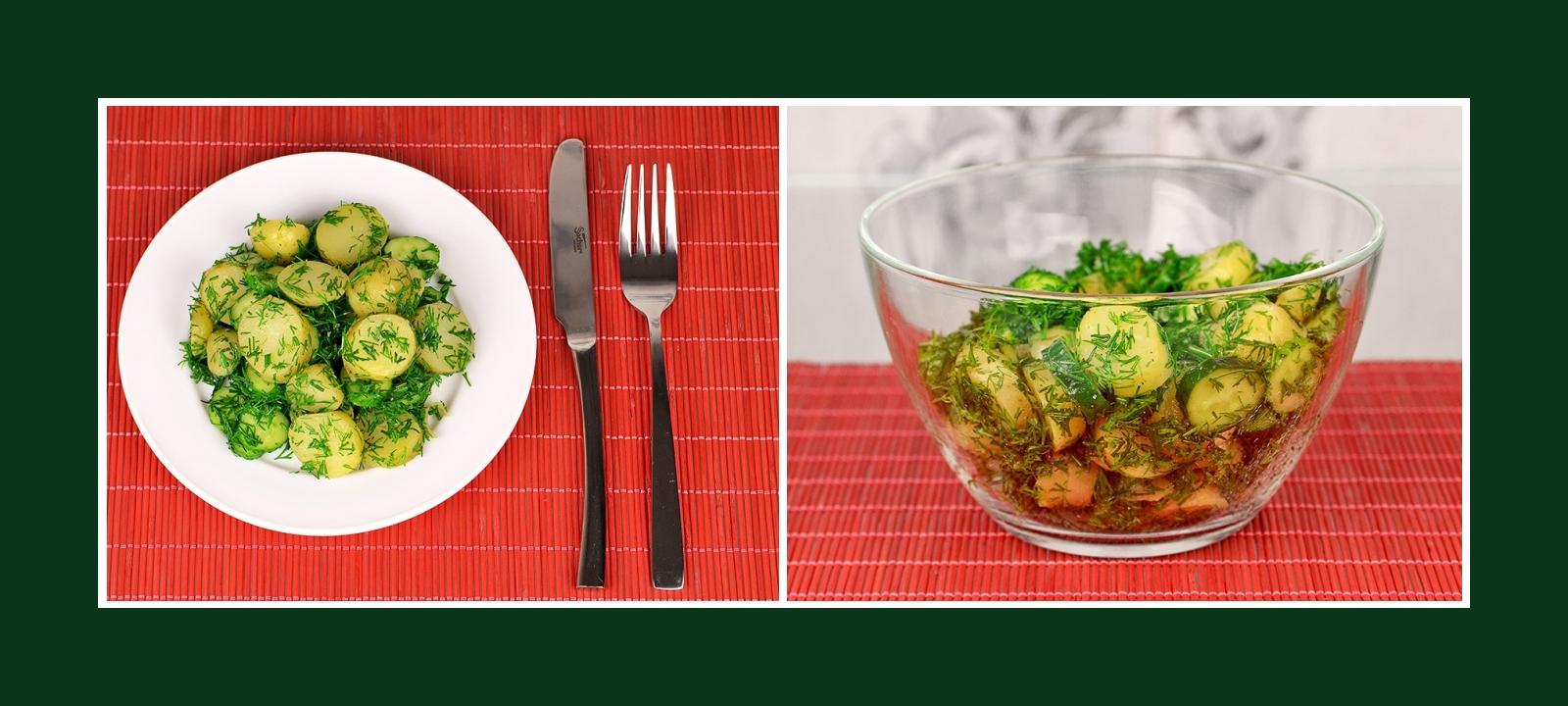Leckerer und einfacher Salat aus Gurken, Kartoffeln und Dill