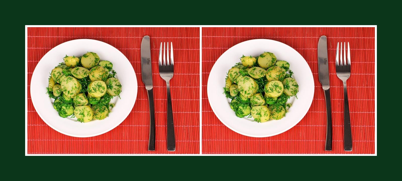 Gesunder Salat und erfrischende Beilage aus Gurken, Kräutern und Kartoffeln
