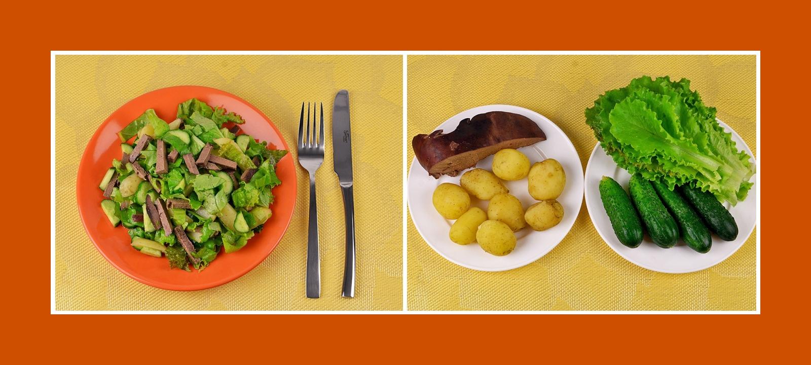 Einfacher Kartoffelsalat mit frischen Salatblättern, Gurke und pikanter Leber