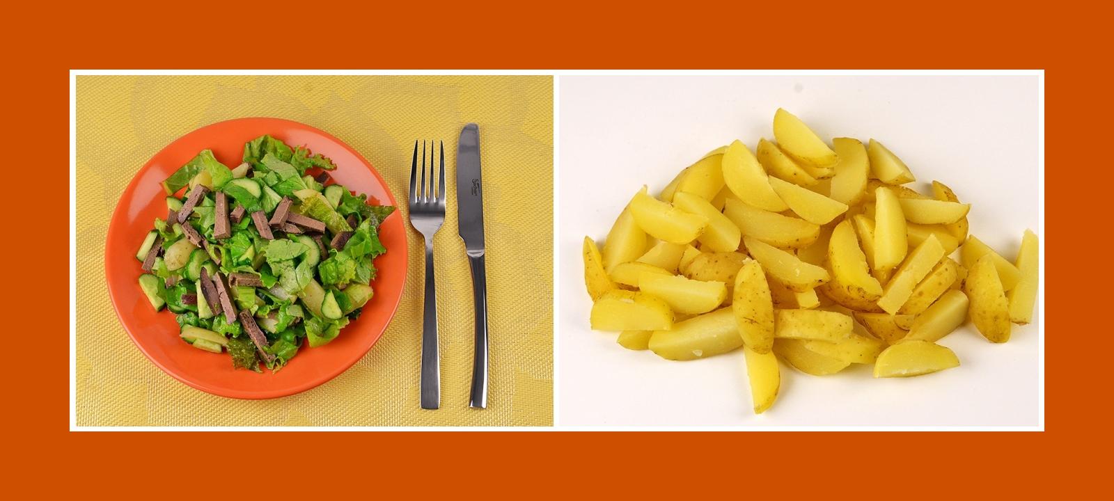 Frühkartoffeln für pikanten Gemüsesalat