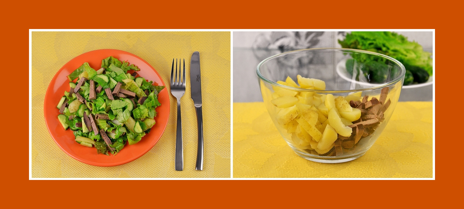 Rindleber und Kartoffeln für gesunden Salat