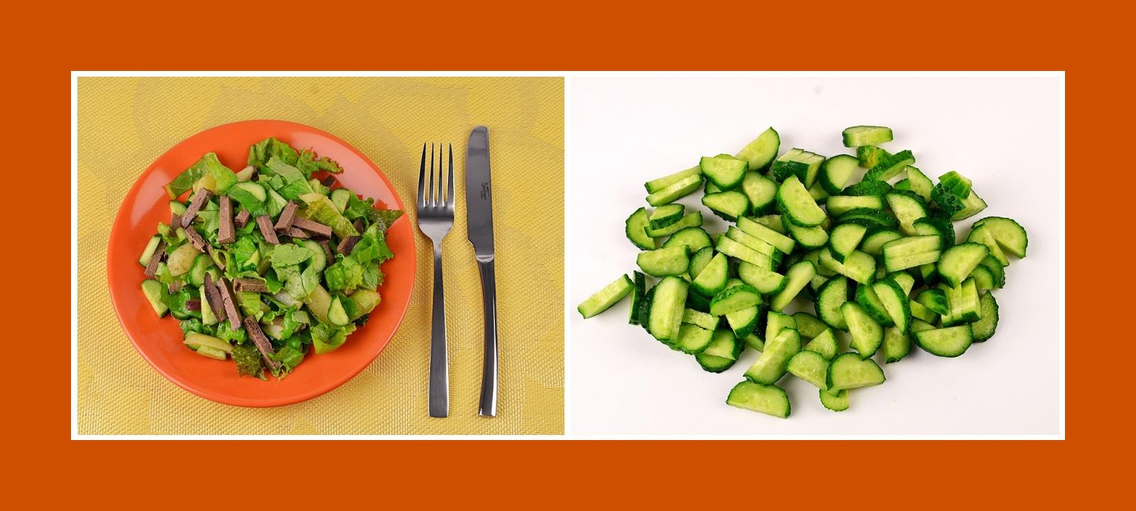 Lebersalat mit frischen Gurken