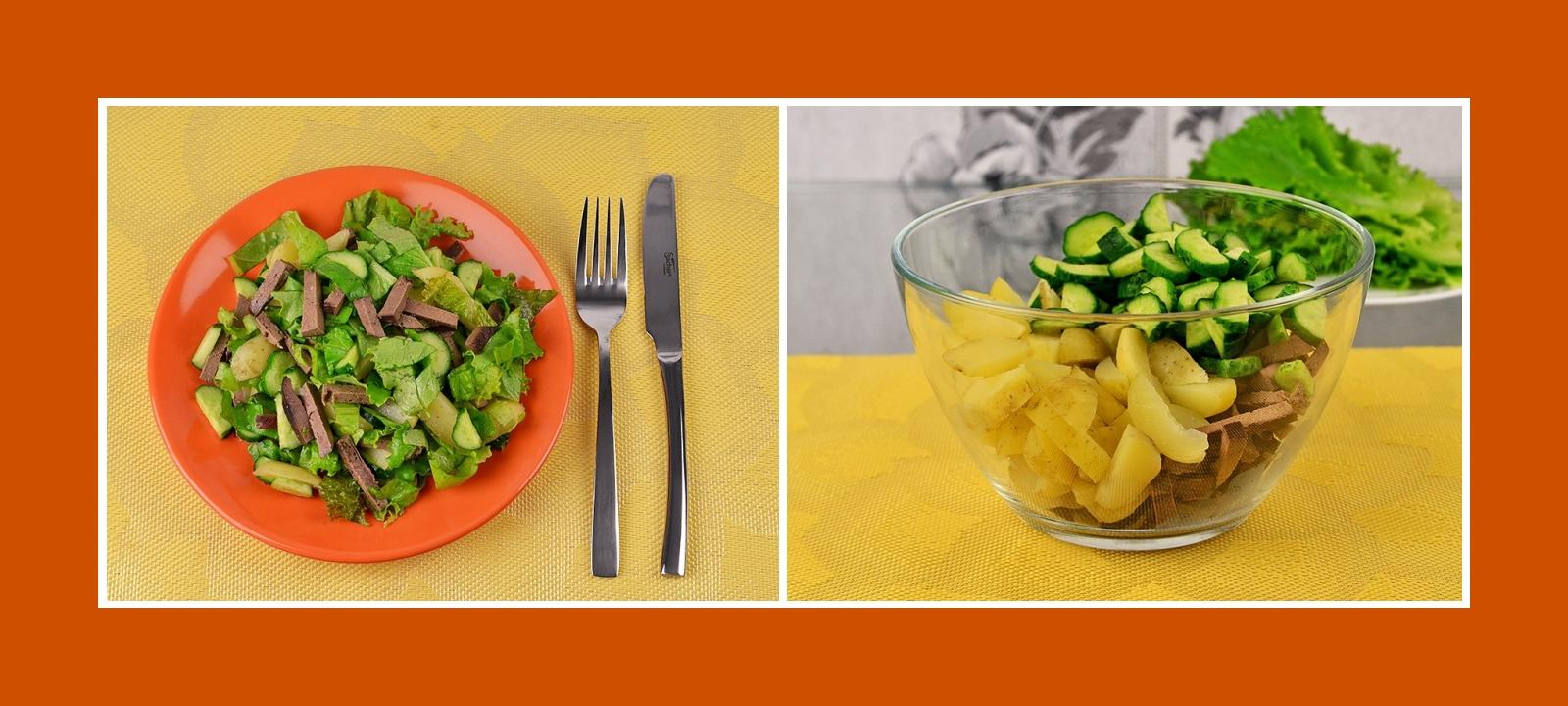 Kartoffelsalat mit Gurken und gegarter Leber