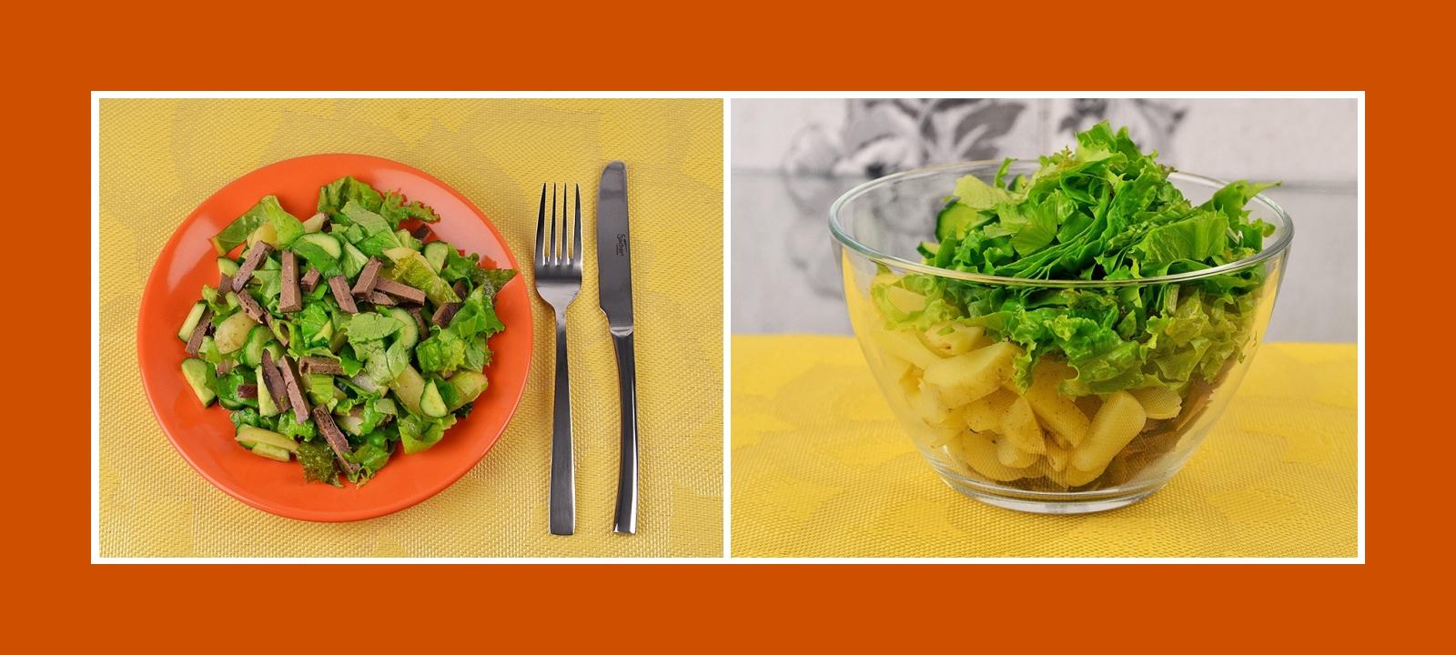 Kartoffelsalat mit Salat, Leber und Gurken
