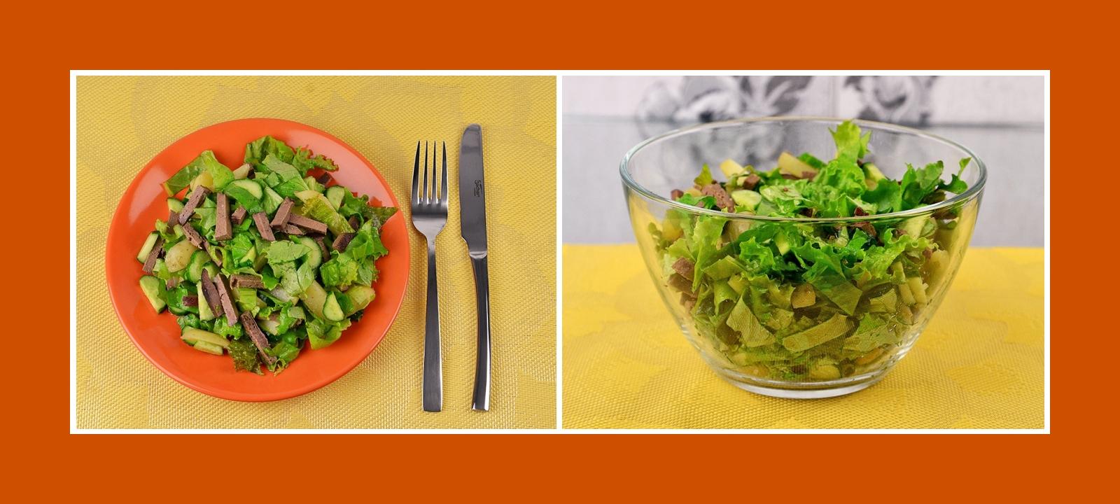 Gesunder Salat mit Gartensalat, Kartoffeln, Gurken und Rindleber Schweineleber gegart