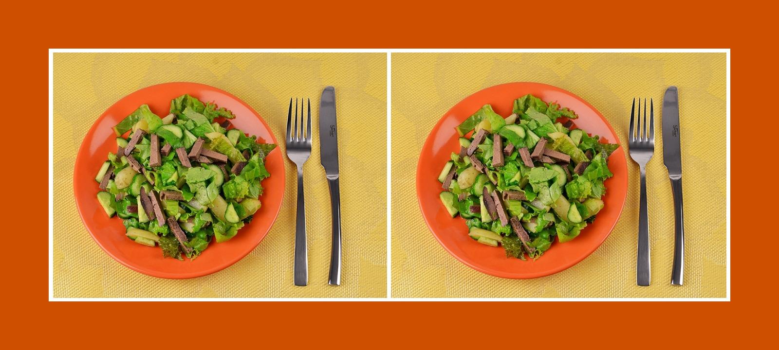 Außergewöhnlicher Gemüsesalat Kartoffelsalat mit Leber