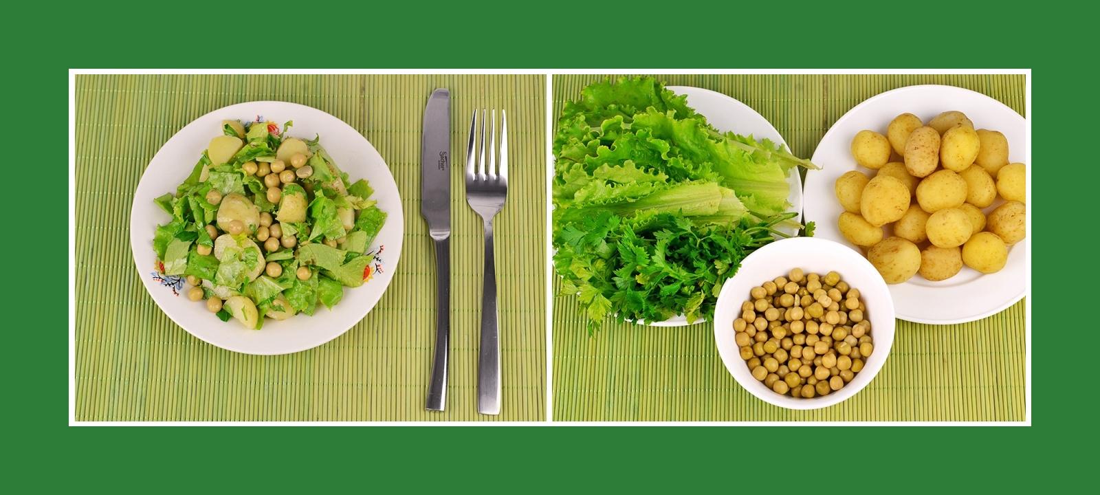 Salat oder Grillbeilage aus Kartoffeln, Gartensalat, Petersilie und Erbsen