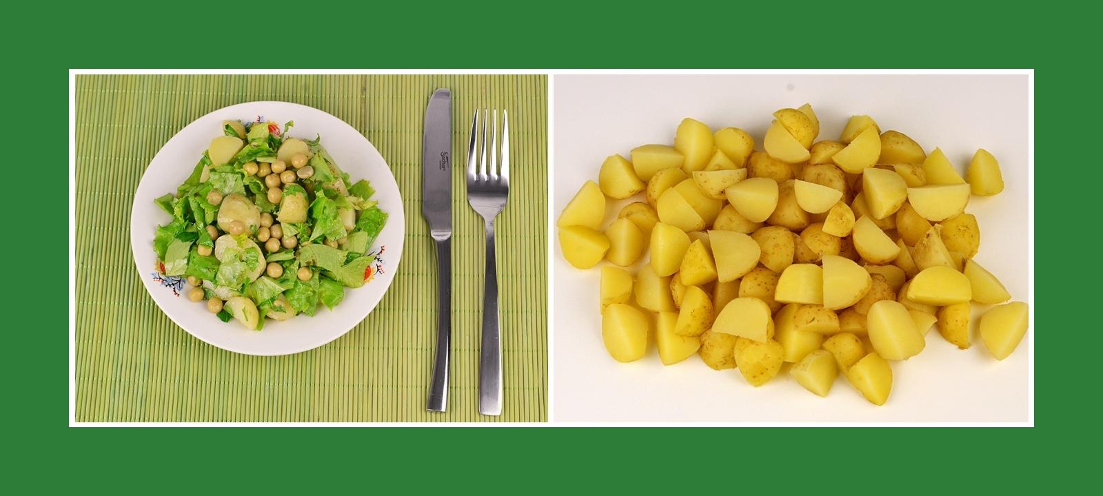 Gekochte Frühkartoffeln für grünen Salat mit Erbsen