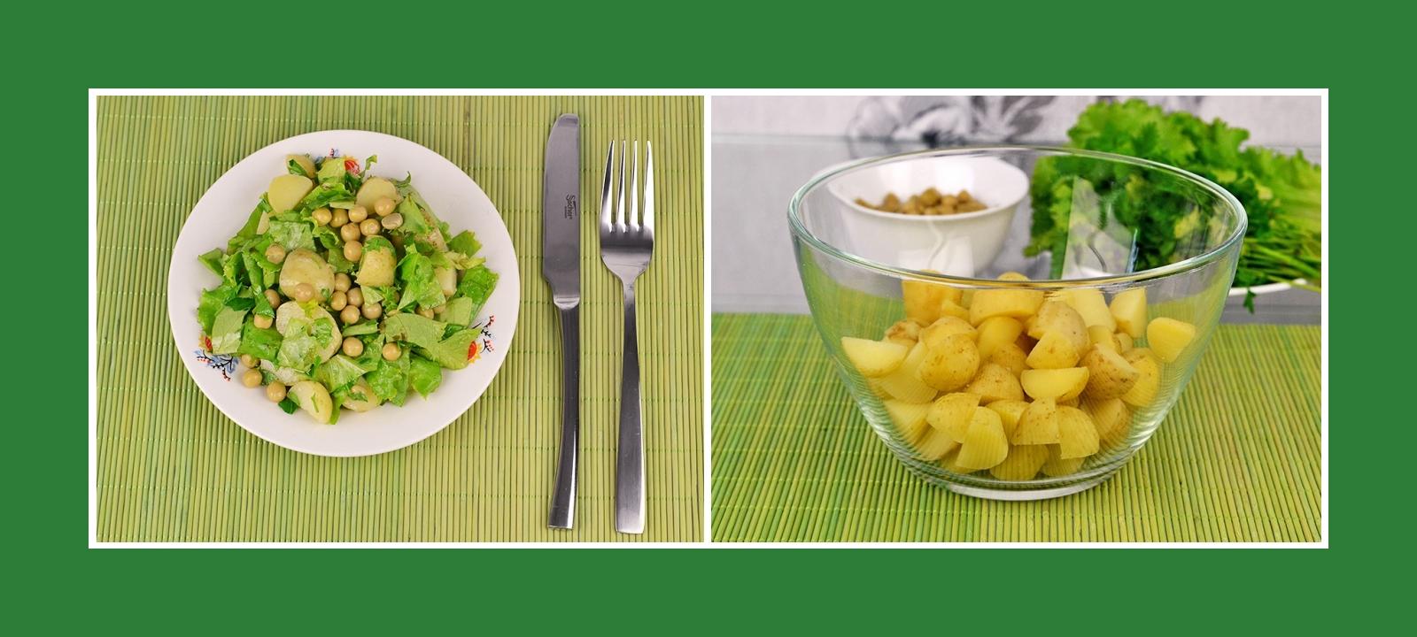 Kartoffelsalat mit Erbsen und Kräutern