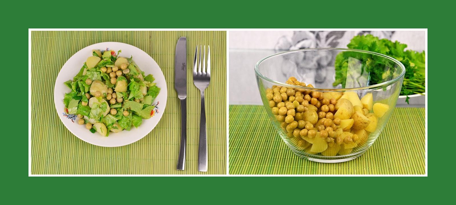 Konservierte Erbsen und Kartoffeln für Salat oder Beilage